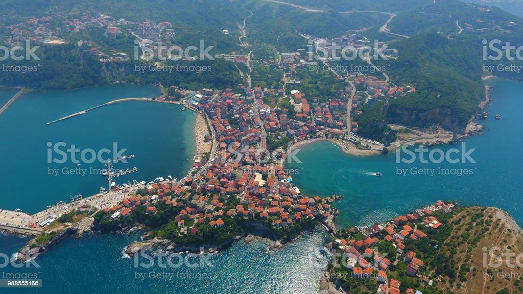 Amasra Türkiye'nin havadan görünümü stok fotoğrafı