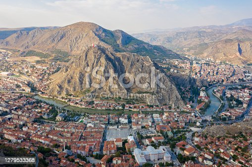Aerial view of Amasya city and Yesilirmak river in Turkey.