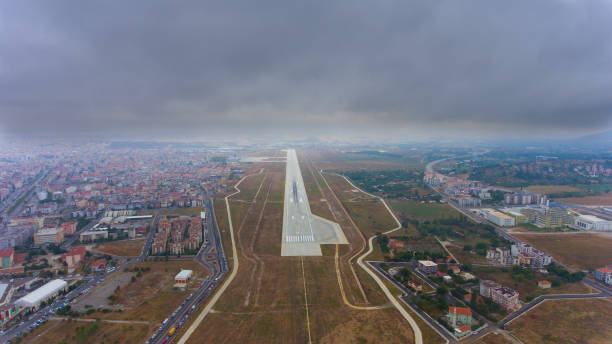 Aerial view of amazing airport. stock photo
