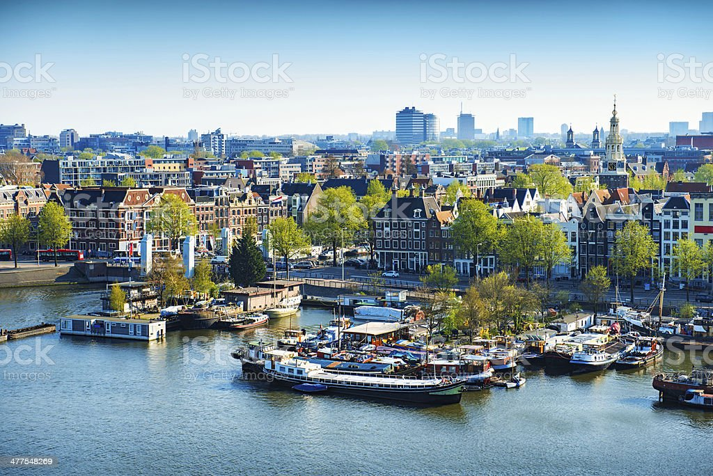 Aerial View of Amsterdam city on One Beautiful Sunny Day stock photo