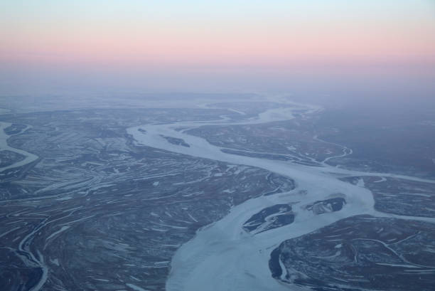 Aerial View of Amur River in Russian Far East