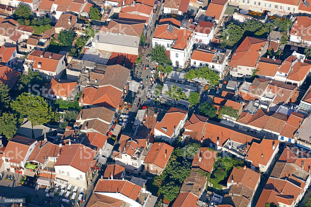 Aerial view of an Aegean town stock photo