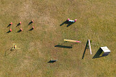 Aerial view of an agility dog course