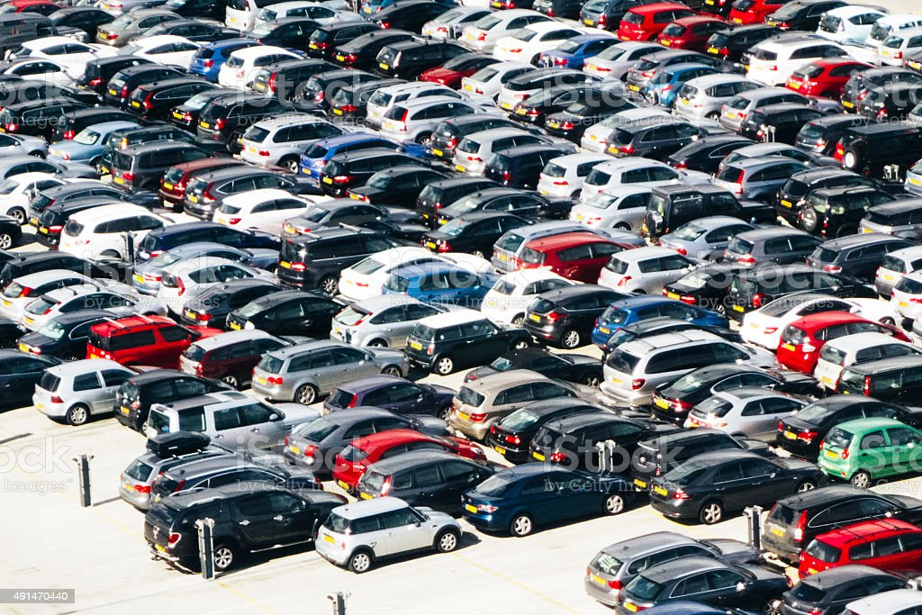Aerial view of an airport parking lot, full frame stock photo