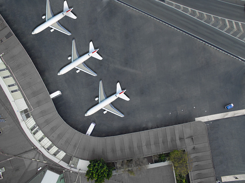 istock Aerial view of an airport 640107028