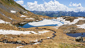 Aerial view of an Alpine natural lake during spring season. Snow melting. Italian Alps. Italy