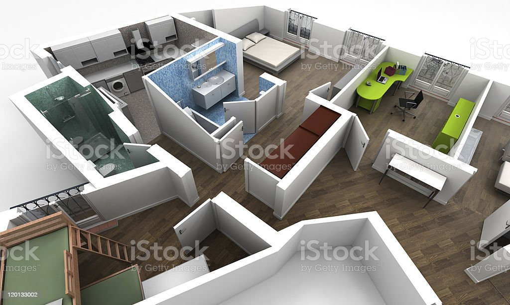 Aerial view of an apartment royalty-free stock photo