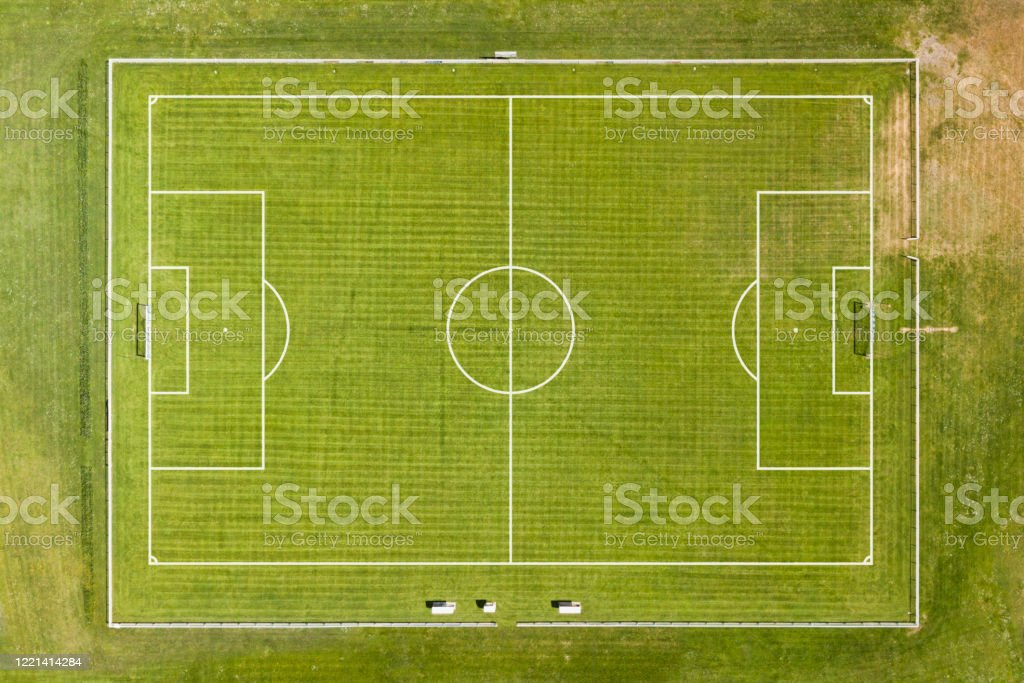 Aerial view of an empty football pitch - Royalty-free Aerial View Stock Photo