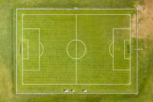 Aerial view of an empty football pitch stock photo