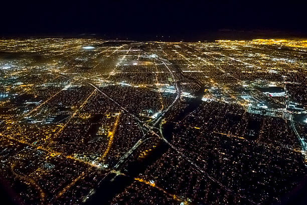 Aerial view of an illuminated Los Angeles at night stock photo