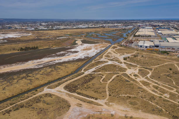 Aerial view of an industrial zone in the Port Adelaide area of South Australia stock photo