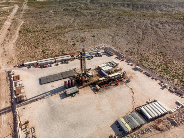Aerial View Of An Oil Platform, Fracking, Drill Rig, In West Texas stock photo