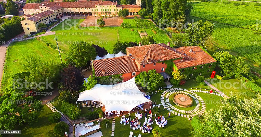 Aerial view of an old country house in Italy. stock photo