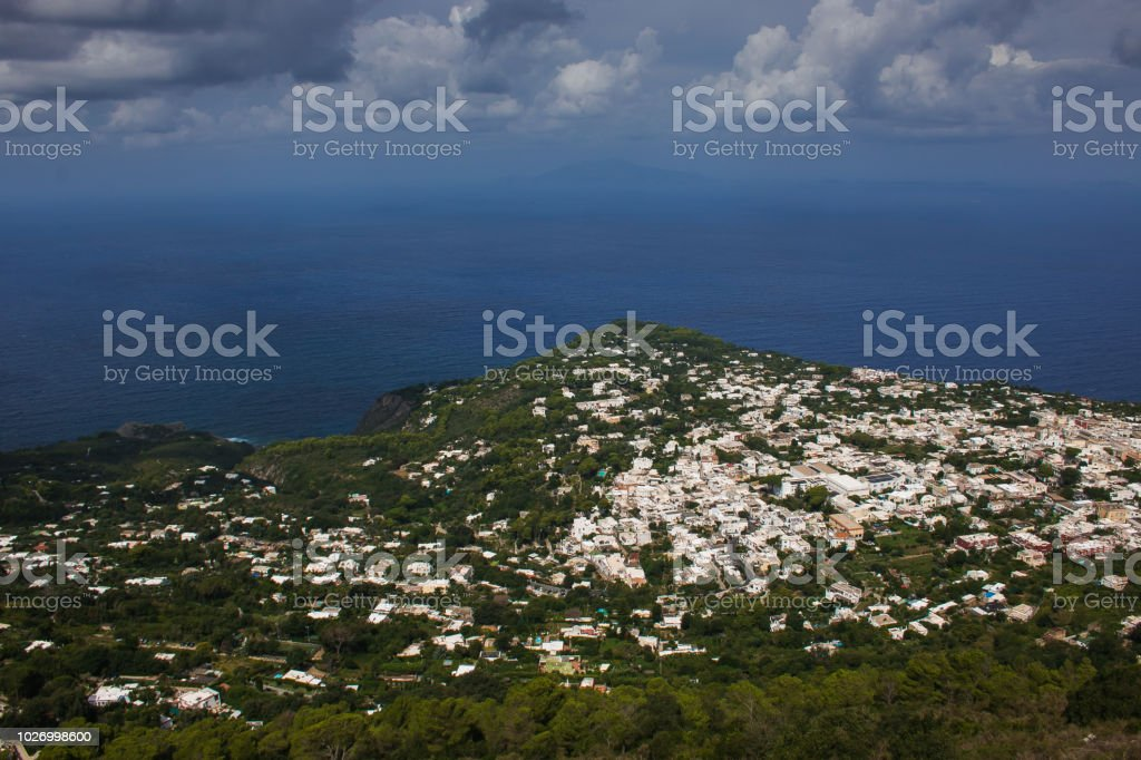 Aerial view of Anacapri city on the tyrrhenian sea, Capri island - foto stock
