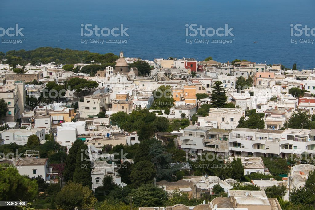 Aerial view of Anacapri from Monte Solaro, Island of Capri - foto stock