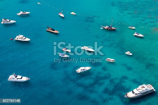 istock aerial view of anchored yachts 522754146