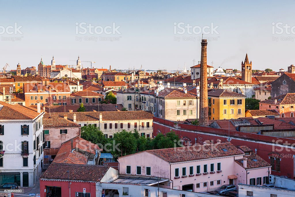 aerial view of ancient building in Venice, Italy stock photo