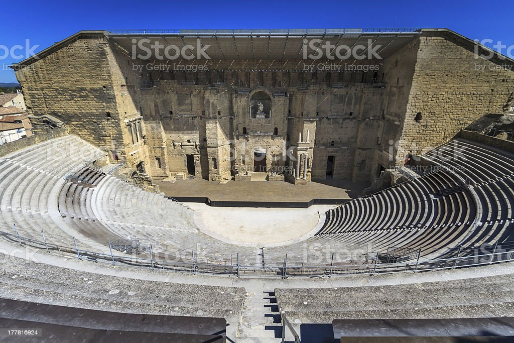 Aerial view of ancient Roman theater in Orange, south France stock photo