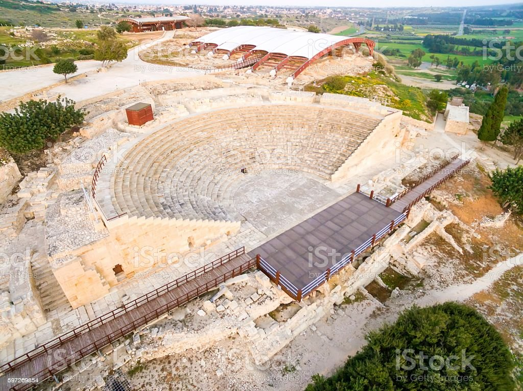 Aerial view of ancient theatre of Kourion royalty-free stock photo