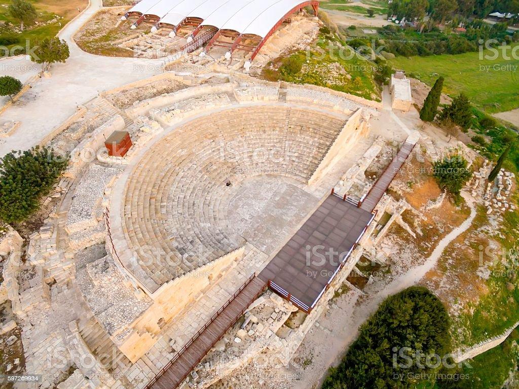 Luftbild von antiken Theater von Kourion Lizenzfreies stock-foto