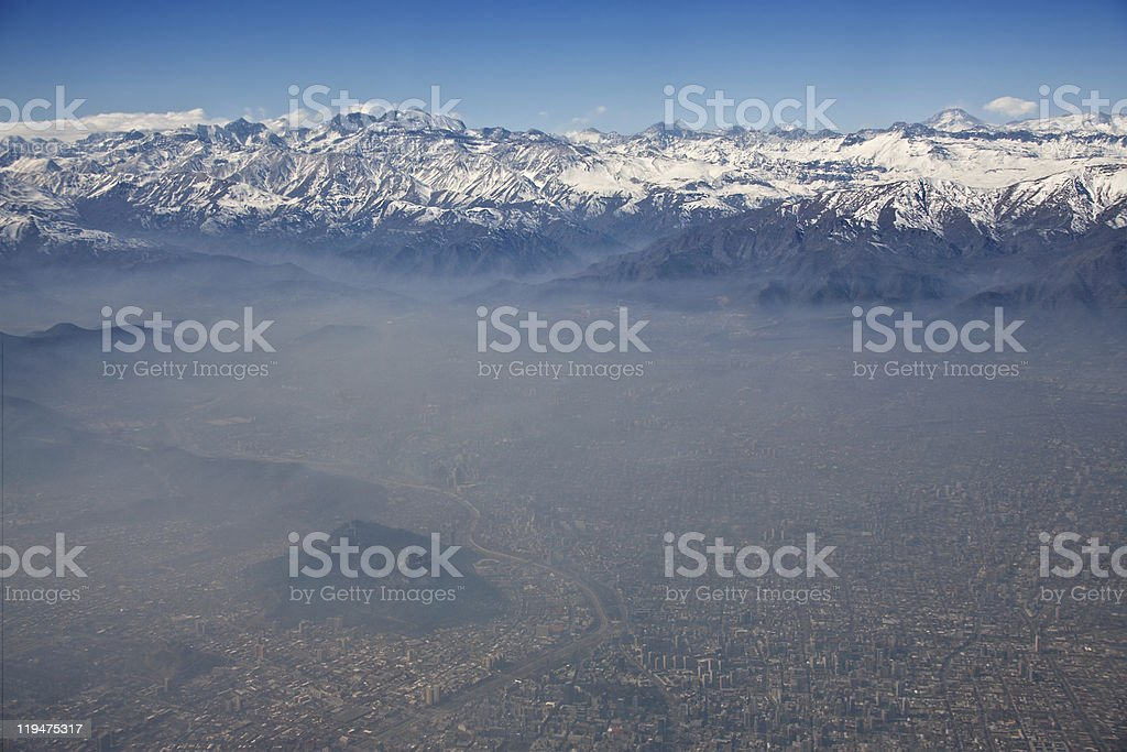 aerial view of Andes and Santiago with smog, Chile royalty-free stock photo