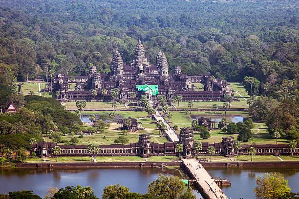 Aerial view of Angkor wat, Cambodia stock photo