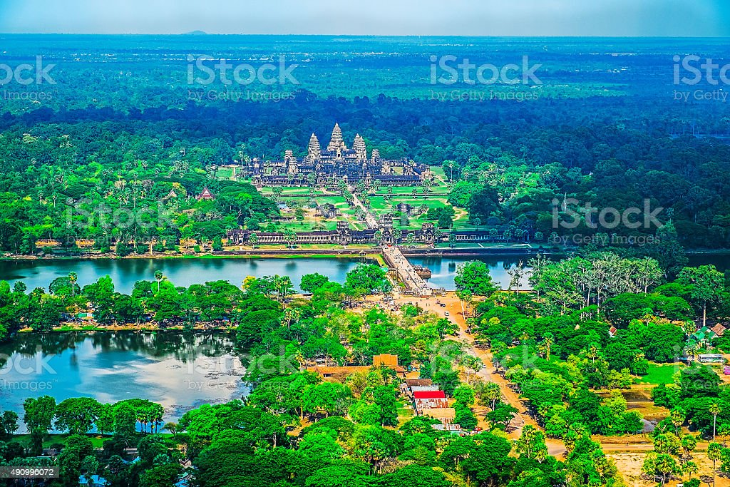 Aerial view of Angkor Wat Temple stock photo