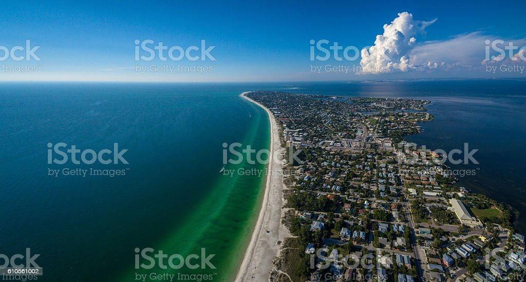 Aerial view of Anna Maria Island stock photo
