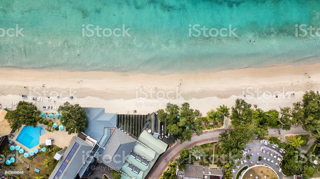 Aerial view of Anse Beau Vallon - Mahe - Seychelles stock photo