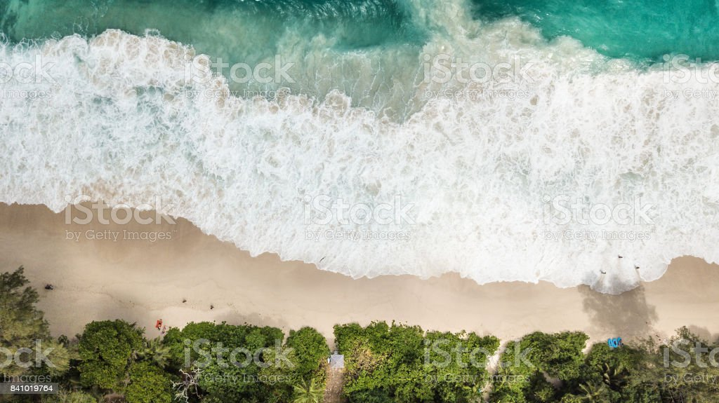 Aerial view of Anse Intendance - Mahe - Seychelles stock photo