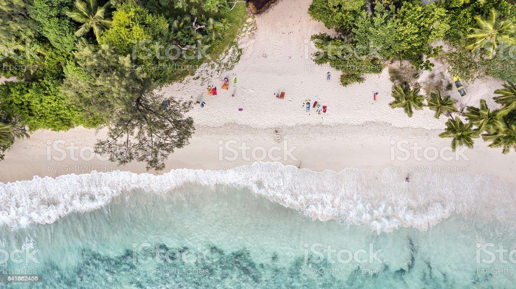Aerial view of Anse Takamaka -  Mahe Island - Seychelles stock photo
