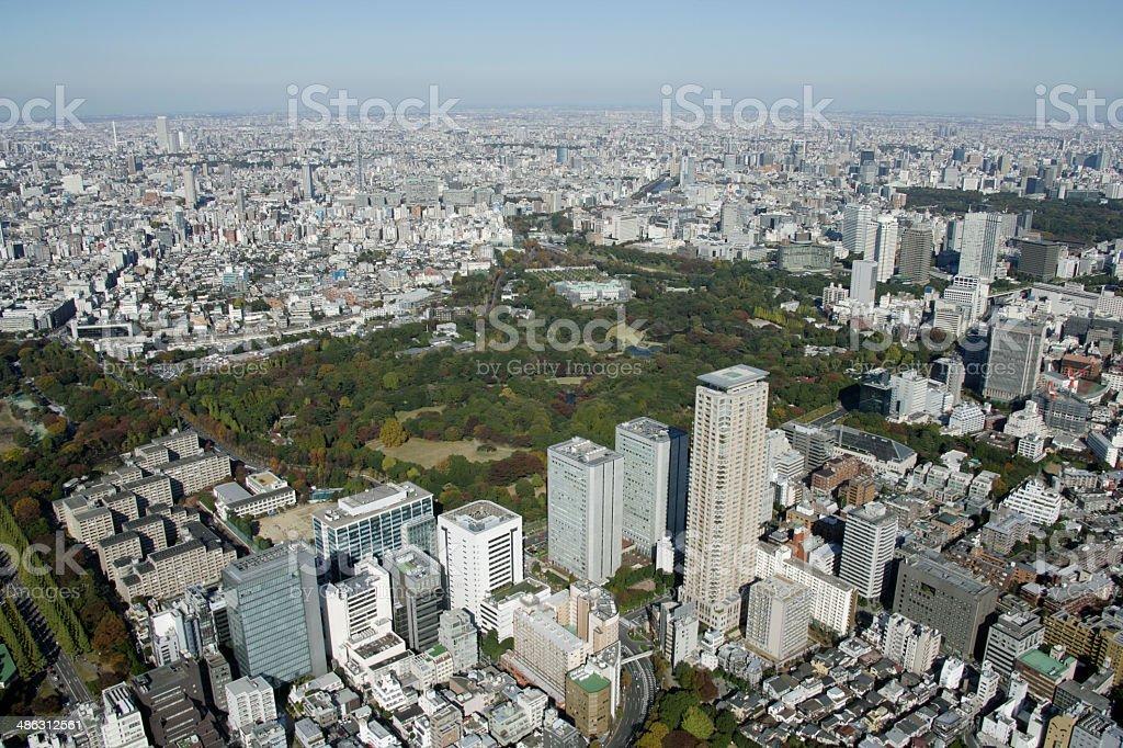 青山エリアの空からの眺め ストックフォト