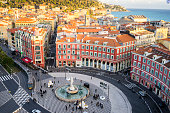Aerial view of Apollo Statue, Place Massena, Nice, Mediterranean Sea