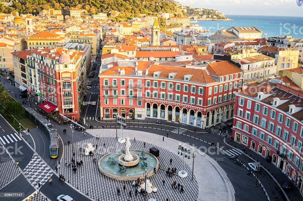 Aerial view of Apollo Statue, Place Massena, Nice, Mediterranean Sea stock photo