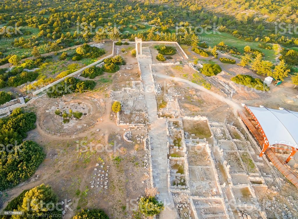 Aerial view of Apollonas Ilatis ancient site, Limassol, Cyprus royalty-free stock photo