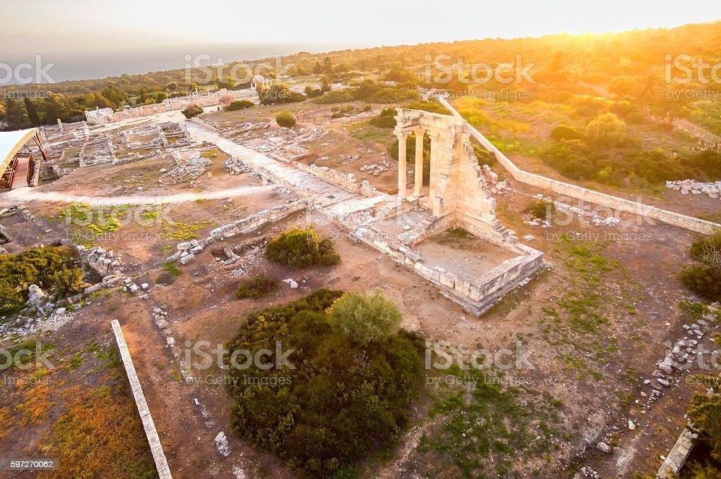 Luftaufnahme von Apollonas Ilatis alten Website, Limassol, Zypern Lizenzfreies stock-foto