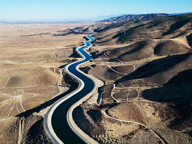 Aerial view of aqueduct, California. stock photo
