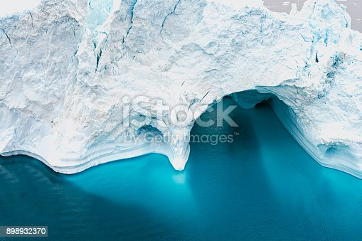 istock Aerial view of Arctic Icebergs on Arctic Ocean in Greenland 898932370
