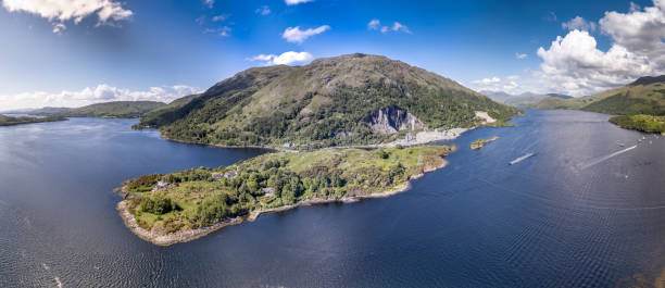 Aerial view of Ardchattam and Bonawe seen from Loch Etive stock photo