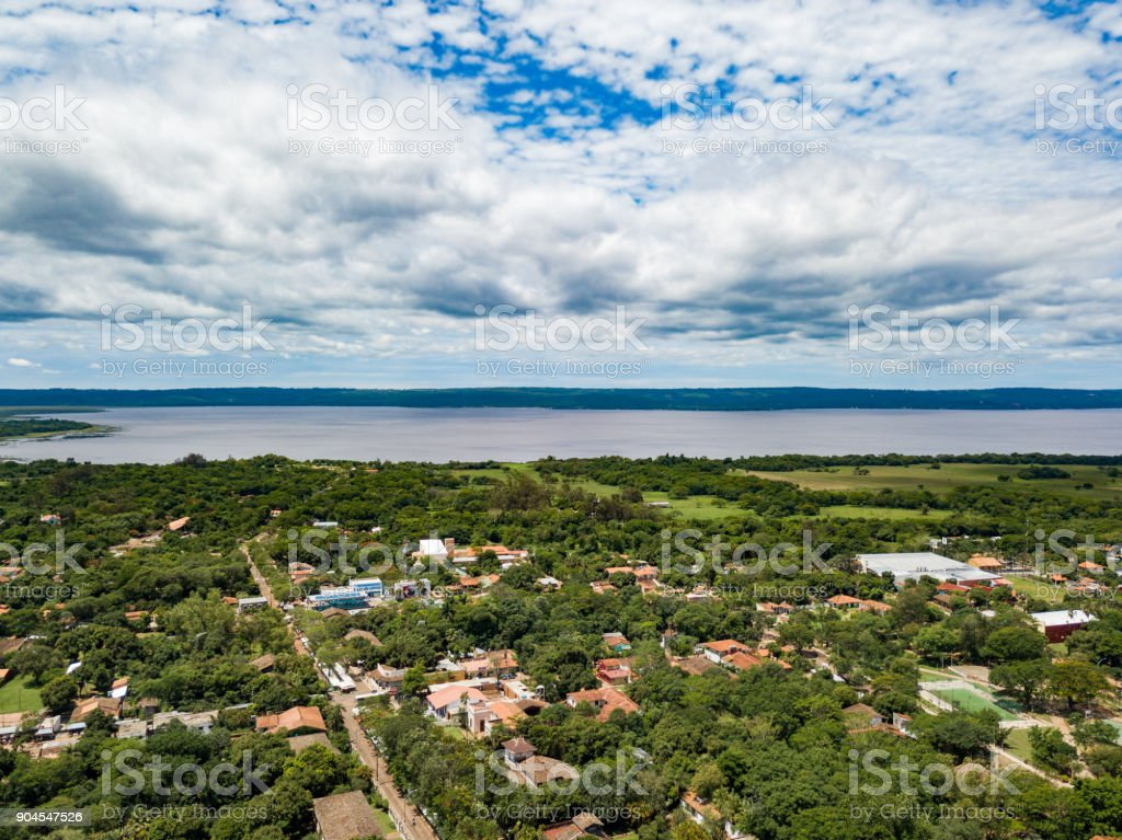 Aerial view of Aregua / Paraguay overlooking Lake Ypacarai stock photo