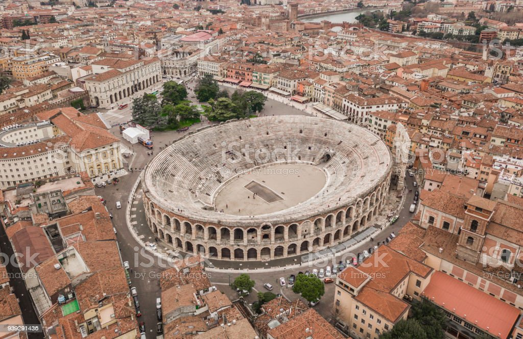 Aerial view of Arena di Verona - foto stock