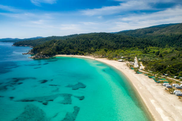 Aerial view of Armenistis beach on the Sithonia peninsula, in the Chalkidiki , Greece