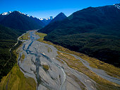 Aerial view of Arthur's Pass National Park, New Zealand