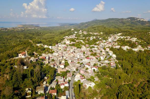 aerial view of Arygrades, Corfu, Greece stock photo