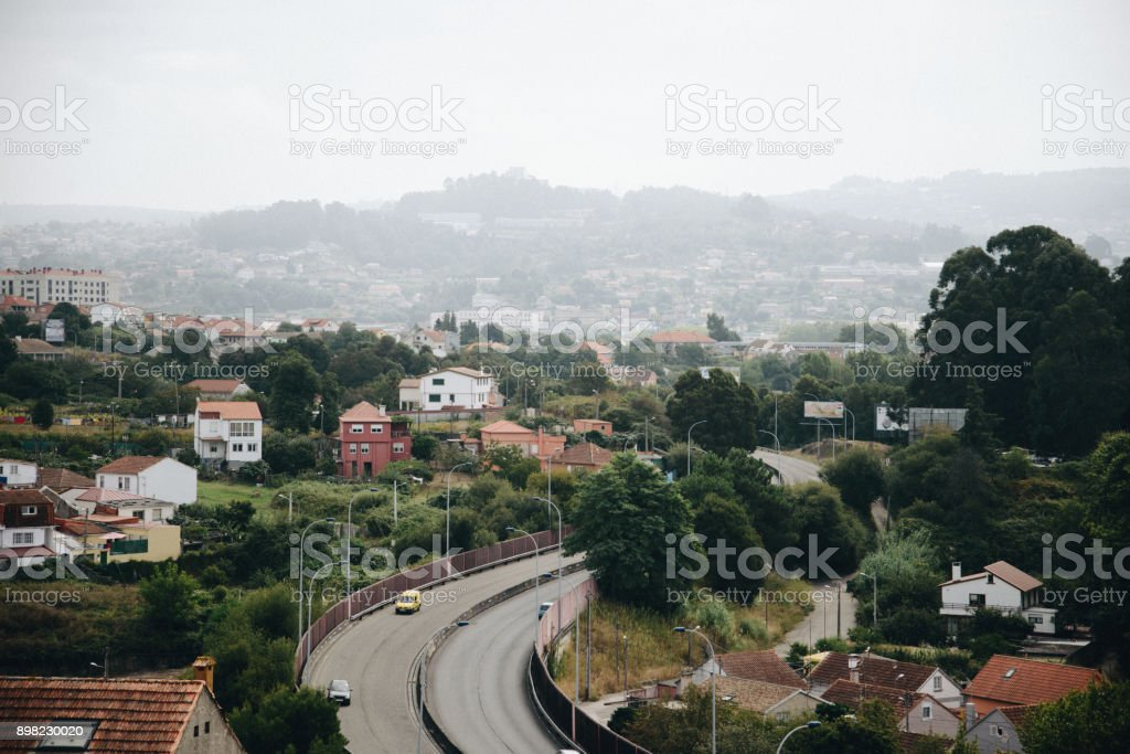 Aerial view of asphalt highway with cars on the city road stock photo
