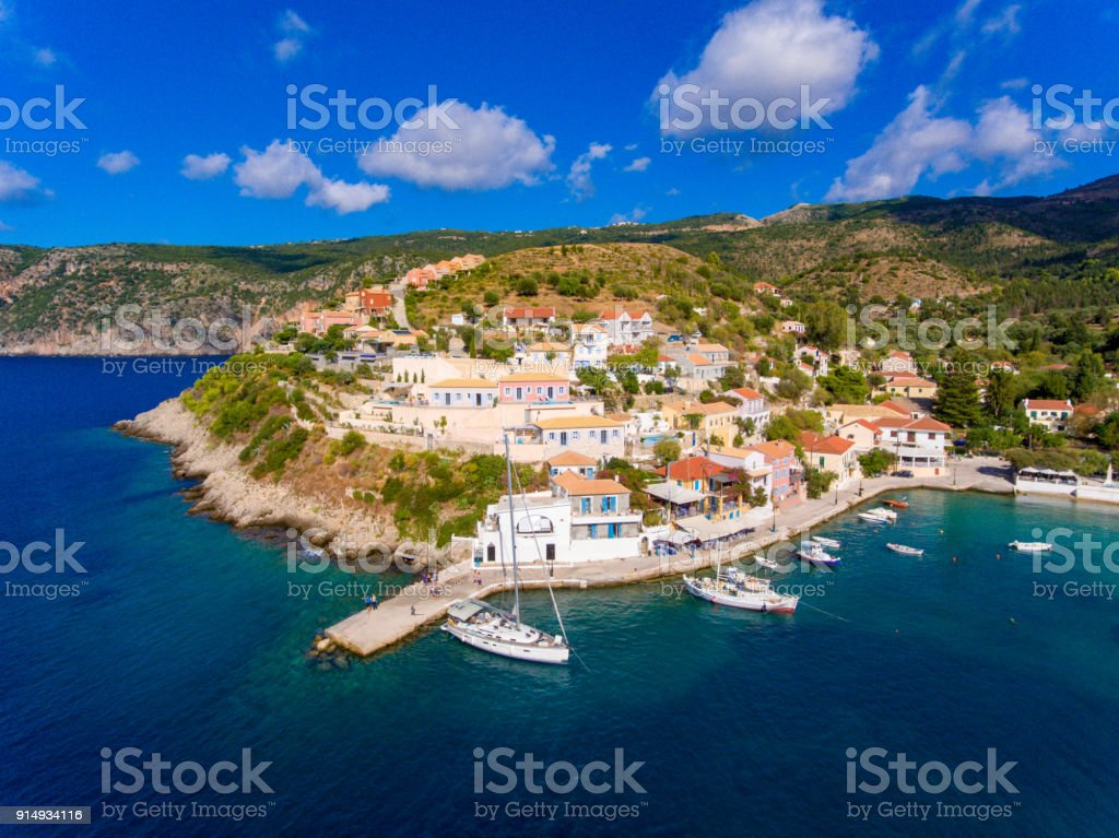 Aerial view of Assos Kephalonia fishing village  the most beautifull village on the island stock photo