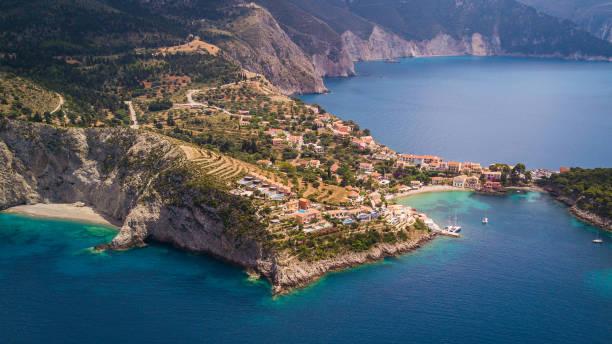 Aerial view of Assos Village, Kefalonia, Greece stock photo