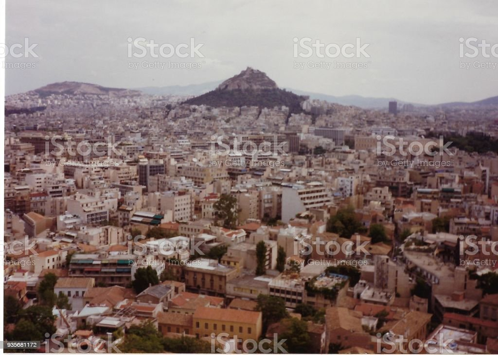 Aerial View of Athens, Greece stock photo