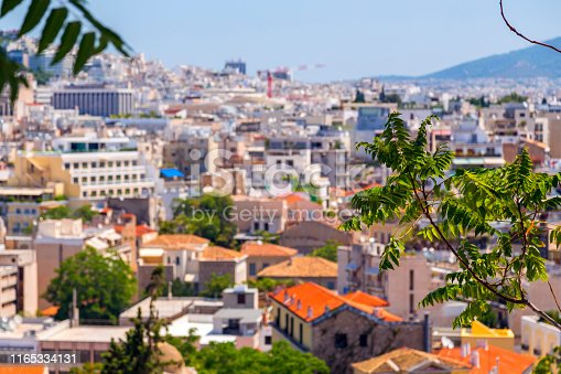Aerial view of Athens, the capital of Greece. Athens has significant remains of the ancient Greek civilization.