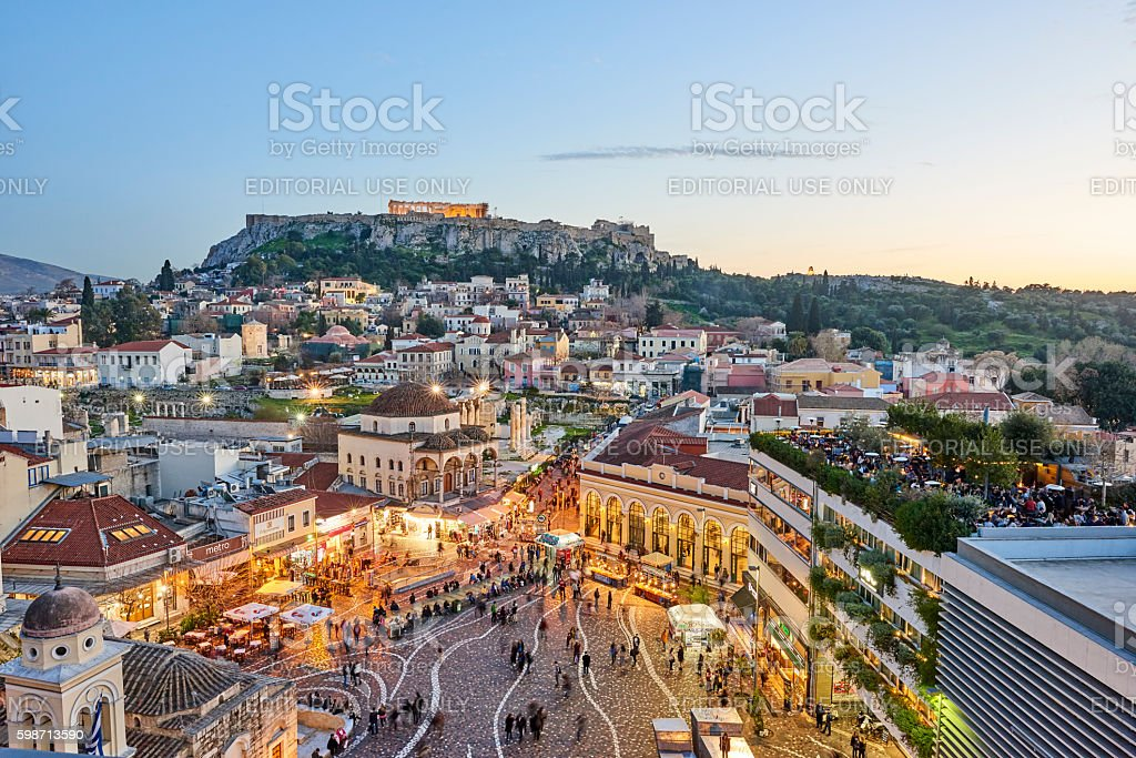 Aerial View of Athens with Acropolis stock photo